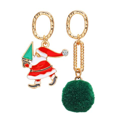 Hot selling fashion creative retro ring hair ball Santa Claus pendant earrings  NHPJ262382's discount tags