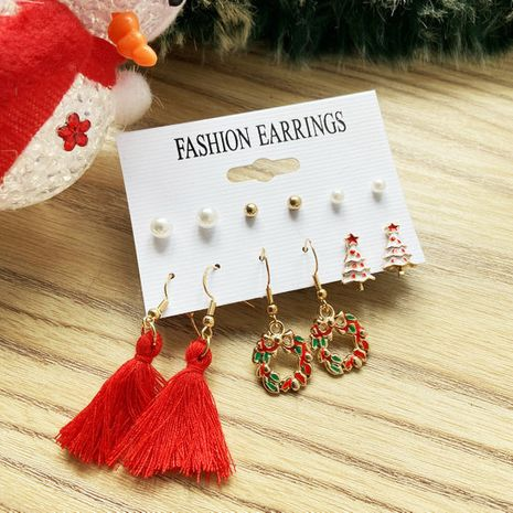 Nuevos pendientes de Navidad Conjunto de pendientes de borla de perlas retro creativo NHPJ262383's discount tags