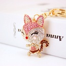 creative cute diamond cartoon fox car keychain metal pendant key chain NHAK262405