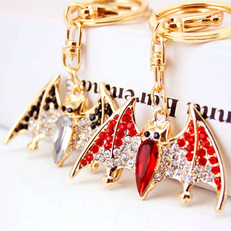 Creative cute diamond-studded little bat key chain animal insect key chain metal pendant  NHAK262422