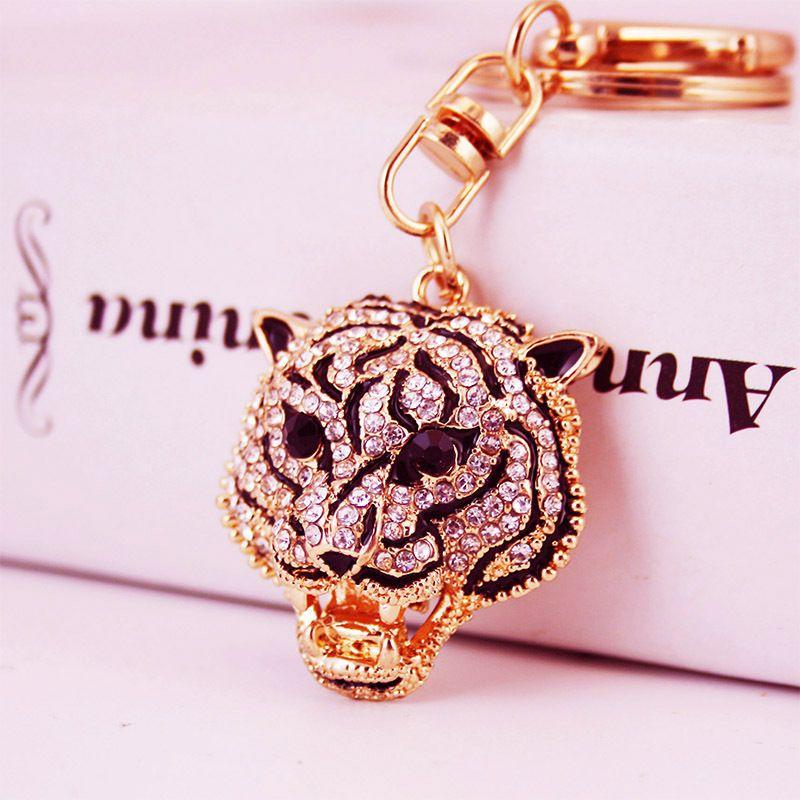 Creative diamond crafts leopard head key chain pendant men's key chain  NHAK262438