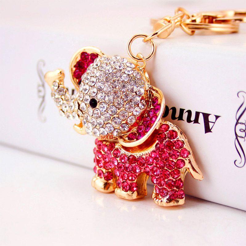 Creative Diamond Cute Cartoon Elephant Keychain  NHAK262446