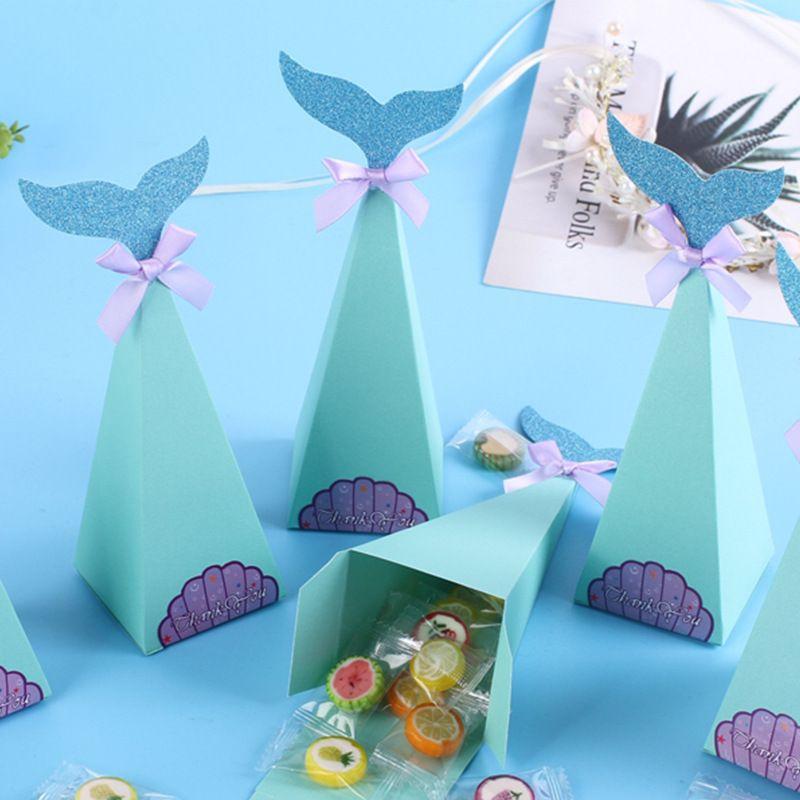 Hot Sale Summer New Popcorn Box Birthday Party Gold Powder Blue Mermaid Candy Box NHAH262466