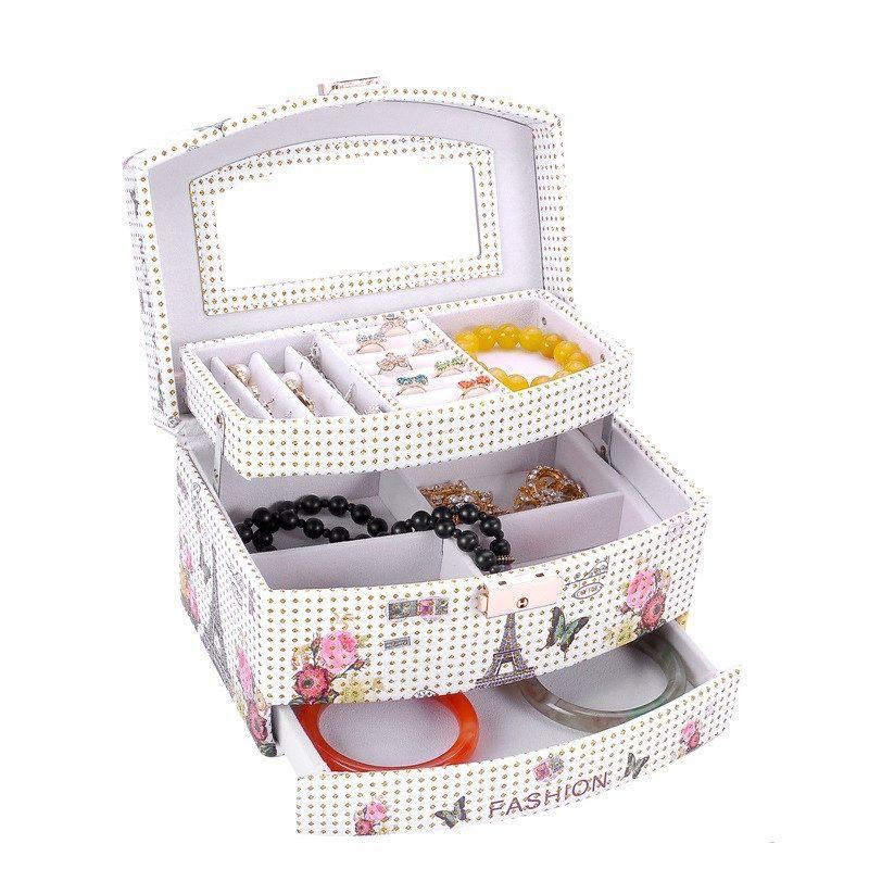Korean creative small jewelry box multi-layer portable travel leather jewelry box earrings  NHHW262153