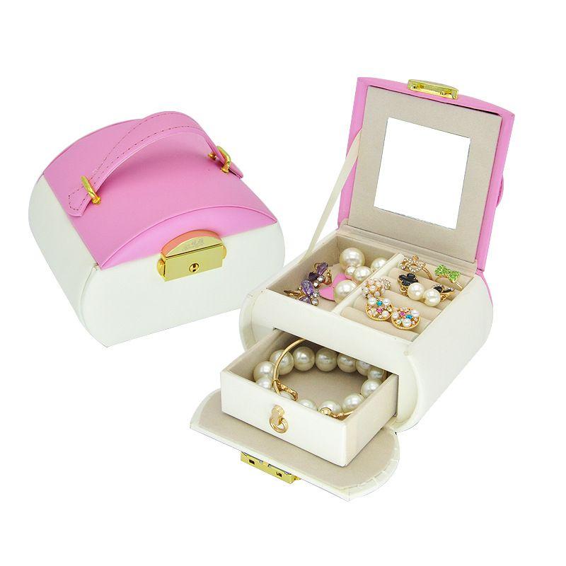 New Carrying Belt Jewelry Box Bracelet Packaging Box Leather Three-layer Jewelry Box  NHHW262156