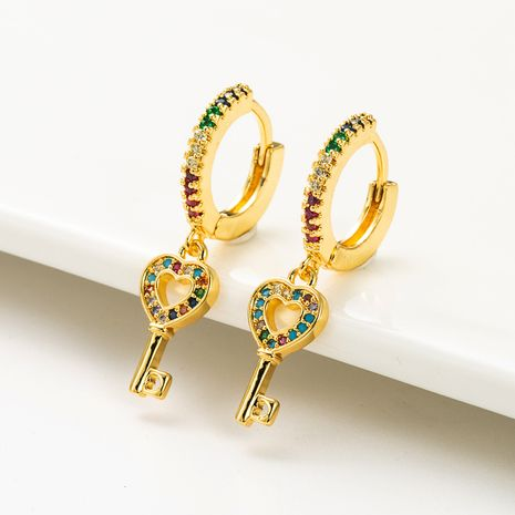 fashion love key   copper micro-inlaid color zircon earrings  NHLN262520's discount tags