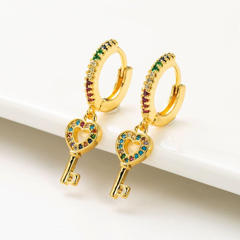fashion love key   copper micro-inlaid color zircon earrings  NHLN262520