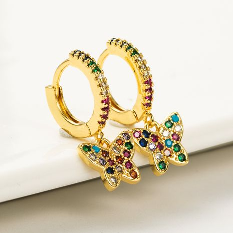 butterfly shape brass gold-plated micro-inlaid color zircon earrings NHLN262526's discount tags