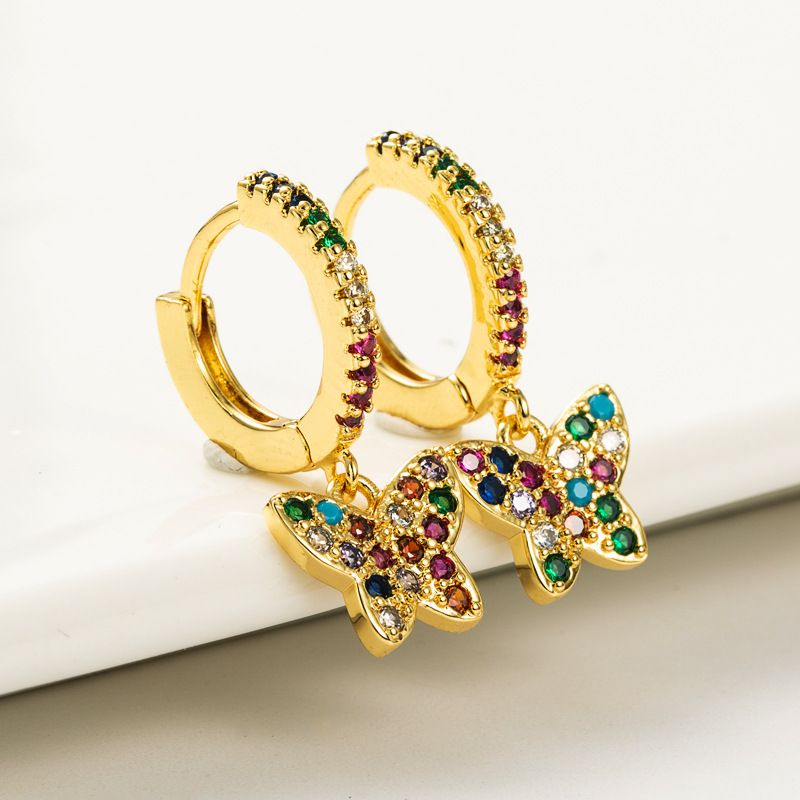 butterfly shape brass goldplated microinlaid color zircon earrings NHLN262526