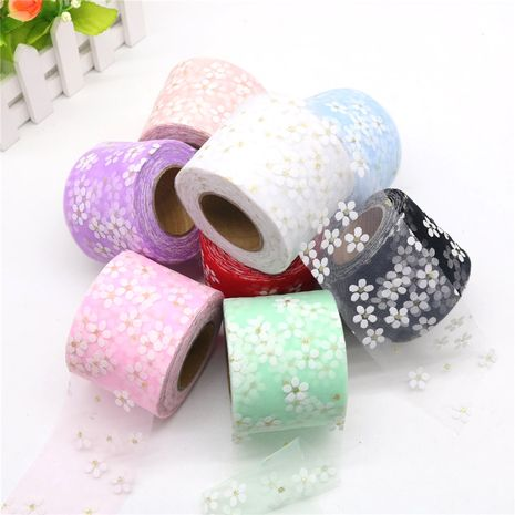 Hot-selling printed gold small plum mesh DIY bow ribbon floral webbing NHUY262486's discount tags