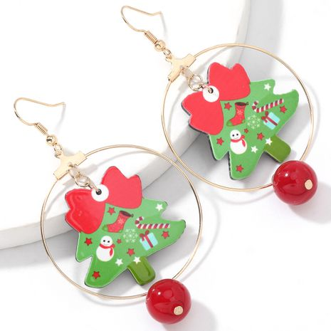 Christmas resin Christmas tree earrings  NHJE262489's discount tags