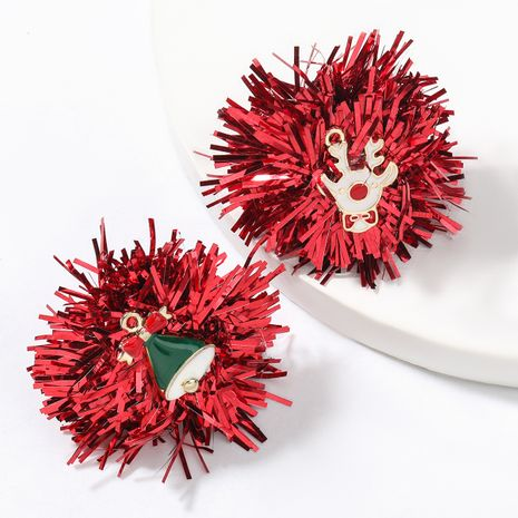 Christmas Series Resin Red Color Bar Flower Ball Gold Drop Oil Christmas Earrings NHJE262492's discount tags