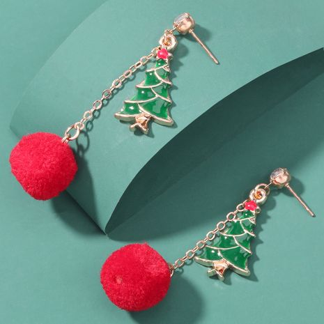 Christmas series alloy oil dripping Christmas tree hair ball earrings  NHJE262493's discount tags
