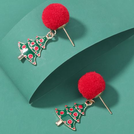 Christmas series hair ball alloy oil drop Christmas tree earrings  NHJE262495's discount tags