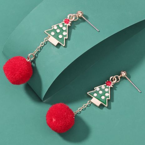 Christmas series alloy oil dripping Christmas tree hair ball earrings  NHJE262497's discount tags