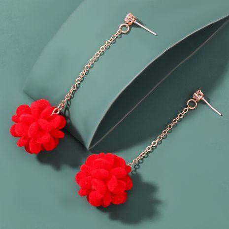 Christmas series red flannel spherical flower earrings NHJE262498's discount tags