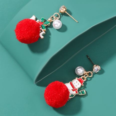 Christmas Series Alloy Dripping Snowman Hair Ball Earrings  NHJE262499's discount tags