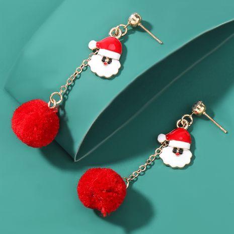 Christmas series alloy drip oil Santa hair ball earrings  NHJE262500's discount tags