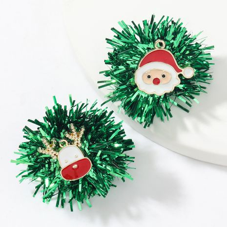 Green Color Bar Flower Ball Gold Drop Oil Christmas Earrings  NHJE262507's discount tags