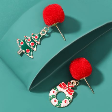 Hair Ball Alloy Drop Oil Wreath Christmas Tree Earrings  NHJE262508's discount tags