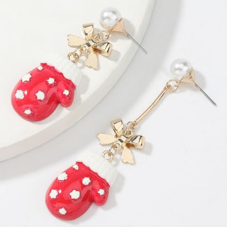 alloy bow resin Christmas glove earrings NHJE262509's discount tags