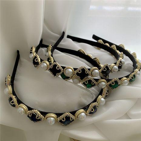 Diadema de diamantes con perla de textura retro NHYQ262554's discount tags