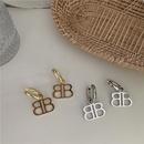 English alphabet  retro gold silver  sense long style earrings  NHYQ262578