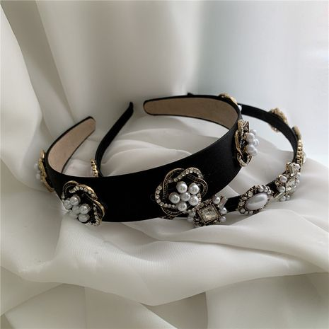retro temperament wide-sided wild outing cloth pearl diamond flower headband   NHYQ262580's discount tags