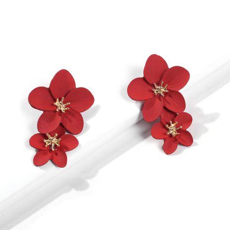boucles d'oreilles fleuries rouges romantiques pour femmes NHMD262944's discount tags
