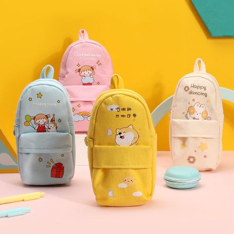 Cute pen bag large capacity canvas stationery bag for primary cartoon  NHHE262377's discount tags