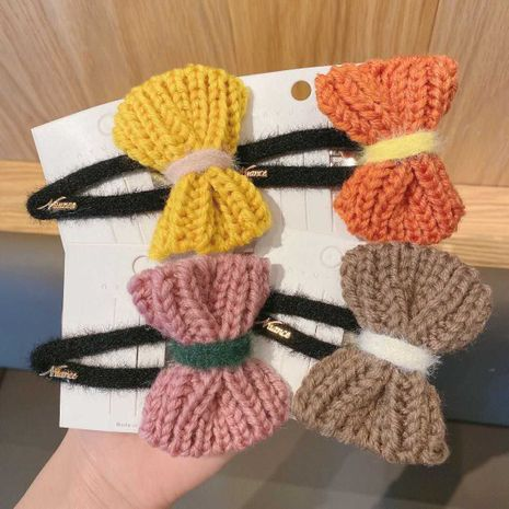 Korean   new fashion bow wool knitted hairpin  NHCQ262637's discount tags