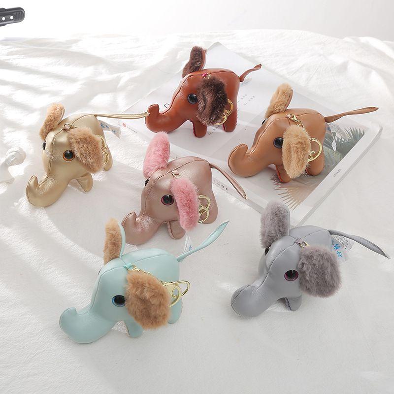 New  creative leather elephant doll pendant plush cartoon car keychain  NHAE262651