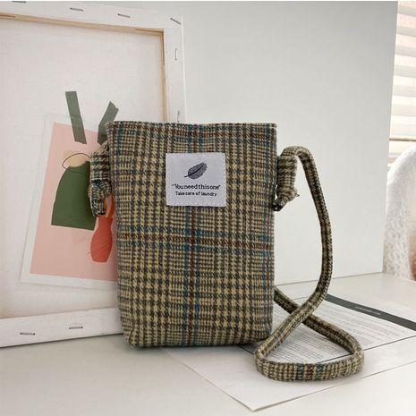 Neue Karo-Retro-Handytasche aus Wolle und Baumwolle NHRU262715's discount tags