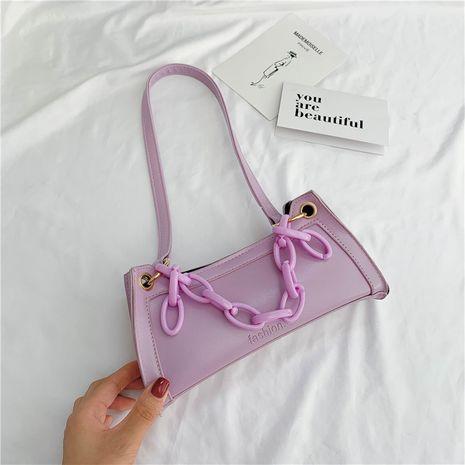 neue Mode trendige One-Shoulder Baguette lila Tasche NHRU262731's discount tags