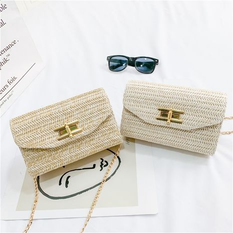 New Fragrant Wind Woven Bag Chain Shoulder Crossbody Clutch Fashion Lock Envelope Bag NHGA262906's discount tags