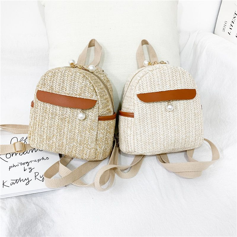 new Korean  straw backpack simple casual  bag NHGA262907