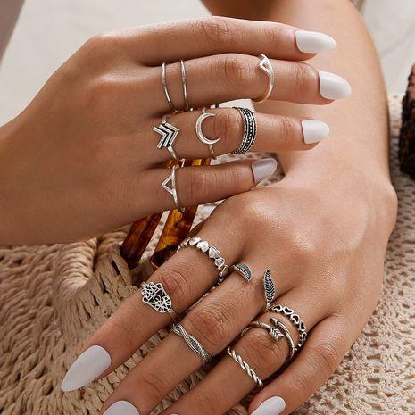 Conjunto de anillos de flecha de amor con media luna de plata antigua de Bohemia NHAJ262911's discount tags