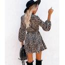 Primavera nuevo estampado de leopardo manga de linterna con volantes manga larga vestido medio NHJG262925