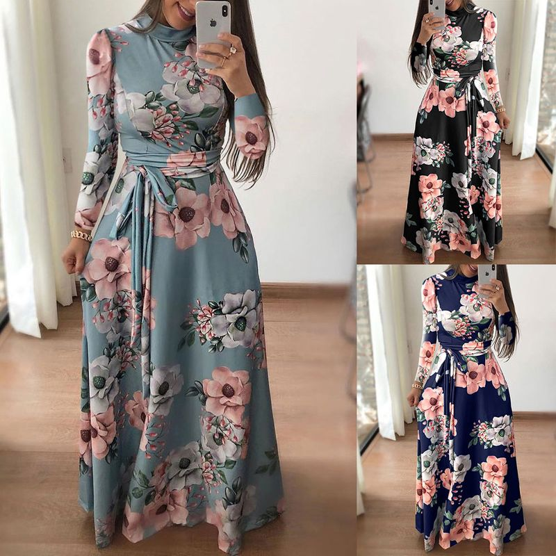 Autumn and winter casual print tie dress long skirt NHJC262924