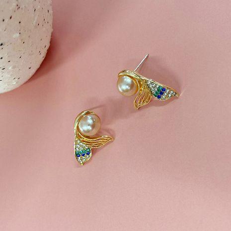 Pendientes largos geométricos de temperamento de mujer verde perla estilo coreano NHWF262977's discount tags