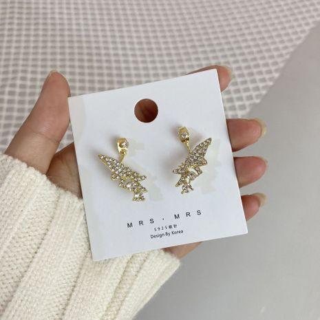 Pendientes de metal geométricos de diamantes de lujo con brillo de mariposa dorada asimétrica NHWF262976's discount tags