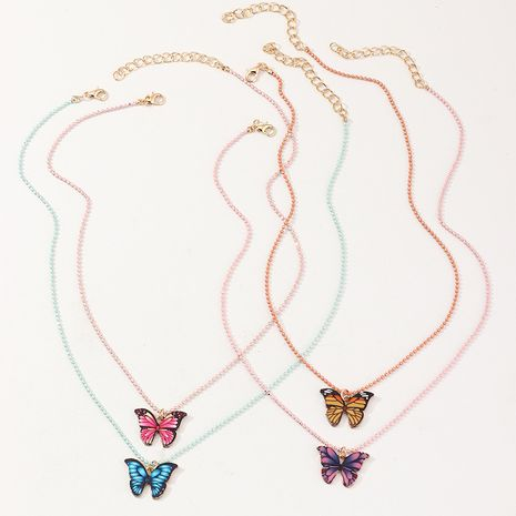 new children's alloy drop oil fashion butterfly money pendant accessory necklace wholesale necklace set NHNU262998's discount tags