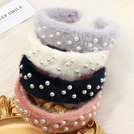 autumn pearl velvet high stretch sponge Korean fashion velvet headband for women NHAU263002's discount tags