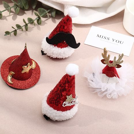 Christmas ornaments Christmas hats girls fabric cartoon Christmas tree top clip side clip hairpin headdress NHAU263004's discount tags