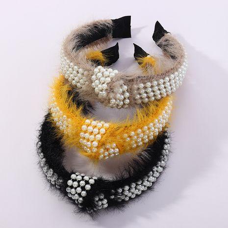 Koreanischer Herbst neue einfache Nagelperle Plüsch geknotete Haare Hoop Retro Mittelknoten Haarschmuck NHAU263006's discount tags