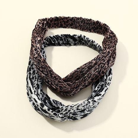 pleated leopard print cross headband ladies elastic sports headband  NHAU263010's discount tags