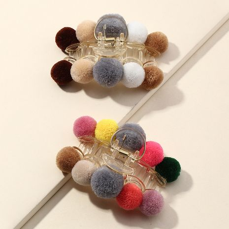 cute simple girls plush catch clip fairy back head cute hair clip hair accessories NHAU263012's discount tags