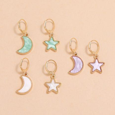llavero simple aretes aretes cinco puntas estrella luna aretes acrílico set NHLL263029's discount tags