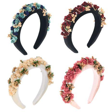 sponge headband diamond chain flowers hand-sewn four-color headwear fashion prom headband NHCO263034's discount tags