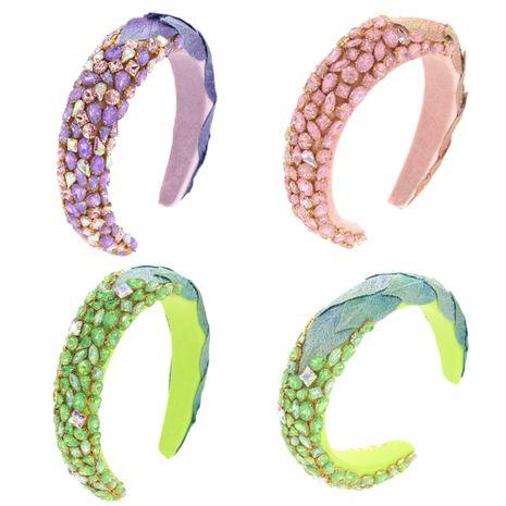Diadema de esponja coloreada de tres centímetros pegamento de diamantes de imitación de vidrio adherido a mano deja sombreros NHCO263037's discount tags